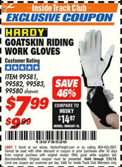Harbor Freight ITC Coupon GOATSKIN RIDING WORK GLOVES Lot No. 99581/99583/99582/99580 Expired: 7/31/18 - $7.99