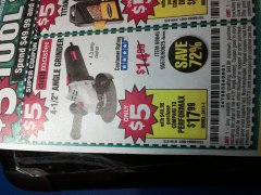 "Harbor Freight Coupon $5 DRILLMASTER 4 1/2"" ANGLE GRINDER WHEN YOU SPEND $49.99 Lot No. 69645, 95578, 60625 Expired: 12/25/19 - $5"
