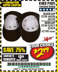 Harbor Freight Coupon KNEE PADS Lot No. 60799/46698/42100/61366/62820/62821 EXPIRES: 6/30/20 - $2.49