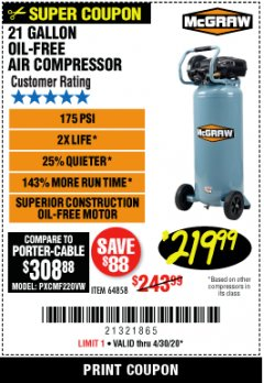 Harbor Freight Coupon 21 GALLON, 1.5 HP, 175 PSI VERTICAL OIL-LUBE Lot No. 64858 EXPIRES: 6/30/20 - $219.99