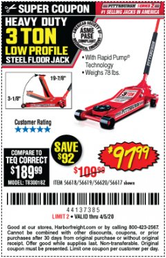 Harbor Freight Coupon HEAVY DUTY 3 TON LOW PROFILE STEEL FLOOR JACK Lot No. 56618/56619/56620/56617 EXPIRES: 6/30/20 - $97.99