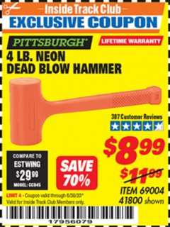 Harbor Freight ITC Coupon 4LB. NEON ORANGE DEAD BLOW HAMMER Lot No. 41800/69004 Dates Valid: 12/31/69 - 6/30/20 - $8.99