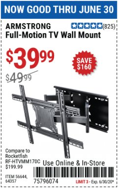 Harbor Freight Coupon FULL-MOTION TV WALL MOUNT Lot No. 56644/64357 EXPIRES: 6/30/20 - $39.99