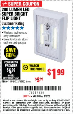 Harbor Freight Coupon 200 LUMEN LED SUPER BRIGHT FLIP LIGHT Lot No. 64189/64723/63922 Expired: 3/8/20 - $1.99