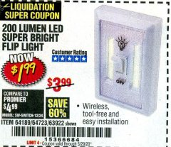 Harbor Freight Coupon 200 LUMEN LED SUPER BRIGHT FLIP LIGHT Lot No. 64189/64723/63922 Valid: 3/28/20 - 6/30/20 - $1.99