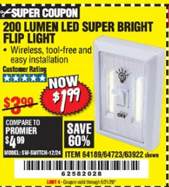 Harbor Freight Coupon 200 LUMEN LED SUPER BRIGHT FLIP LIGHT Lot No. 64189/64723/63922 Expired: 6/21/20 - $1.99