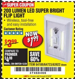 Harbor Freight Coupon 200 LUMEN LED SUPER BRIGHT FLIP LIGHT Lot No. 64189/64723/63922 Valid: 5/14/20 - 8/19/20 - $1.99