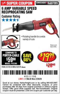 Harbor Freight Coupon 6 AMP VARIABLE SPEED RECIPROCATING SAW Lot No. 65570/61884/62370 Expired: 2/29/20 - $19.99
