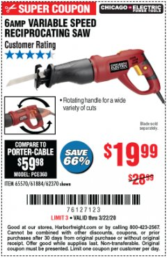 Harbor Freight Coupon 6 AMP VARIABLE SPEED RECIPROCATING SAW Lot No. 65570/61884/62370 Expired: 3/22/20 - $19.99