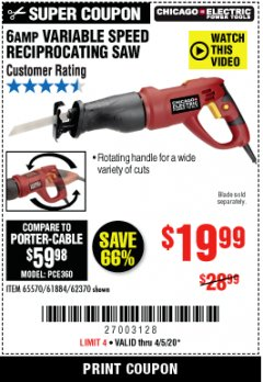 Harbor Freight Coupon 6 AMP VARIABLE SPEED RECIPROCATING SAW Lot No. 65570/61884/62370 Valid: 3/24/20 - 6/30/20 - $19.99