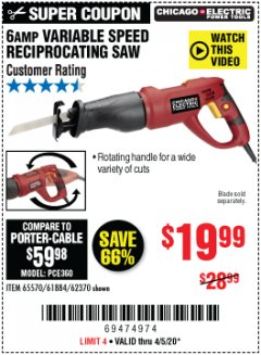 Harbor Freight Coupon 6 AMP VARIABLE SPEED RECIPROCATING SAW Lot No. 65570/61884/62370 Valid Thru: 6/30/20 - $19.99