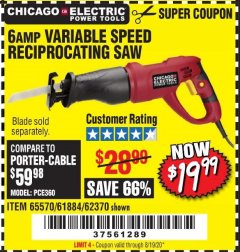 Harbor Freight Coupon 6 AMP VARIABLE SPEED RECIPROCATING SAW Lot No. 65570/61884/62370 Valid: 5/14/20 - 8/19/20 - $19.99