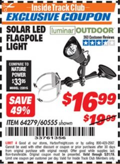 Harbor Freight ITC Coupon SOLAR FLAGPOLE LIGHT Lot No. 60555/67439 Dates Valid: 12/31/69 - 5/31/19 - $16.99