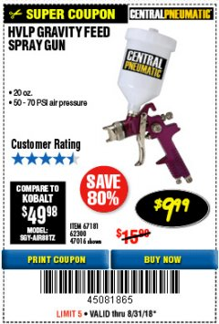 Harbor Freight Coupon 20 OZ. GRAVITY FEED SPRAY GUN Lot No. 47016/67181/62300 Expired: 8/31/18 - $9.99