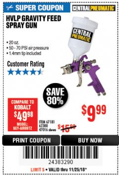 Harbor Freight Coupon 20 OZ. GRAVITY FEED SPRAY GUN Lot No. 47016/67181/62300 Expired: 11/25/18 - $9.99