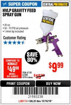 Harbor Freight Coupon 20 OZ. GRAVITY FEED SPRAY GUN Lot No. 47016/67181/62300 Expired: 12/16/18 - $9.99