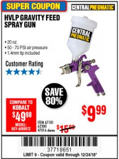 Harbor Freight Coupon 20 OZ. GRAVITY FEED SPRAY GUN Lot No. 47016/67181/62300 Expired: 12/24/18 - $9.99