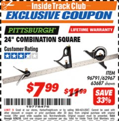"Harbor Freight ITC Coupon 24"" COMBINATION SQUARE Lot No. 96791 Expired: 9/30/18 - $7.99"