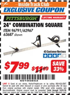 "Harbor Freight ITC Coupon 24"" COMBINATION SQUARE Lot No. 96791 Expired: 12/31/18 - $7.99"