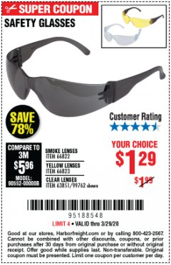 Harbor Freight Coupon SAFETY GLASSES - VARIOUS COLORS Lot No. 66822 66823 63851 99762 Expired: 3/29/20 - $1.29