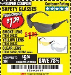 Harbor Freight Coupon SAFETY GLASSES - VARIOUS COLORS Lot No. 66822 66823 63851 99762 Valid Thru: 6/21/20 - $1.29