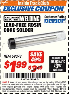 Harbor Freight ITC Coupon LEAD-FREE ROSIN CORE SOLDER Lot No. 69378 Expired: 8/31/18 - $1.99