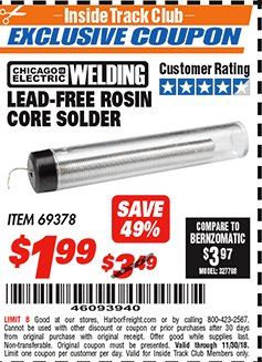 Harbor Freight ITC Coupon LEAD-FREE ROSIN CORE SOLDER Lot No. 69378 Expired: 11/30/18 - $1.99