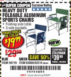 Harbor Freight Coupon HEAVY DUTY FOLDABLE ALUMINUM SPORTS CHAIRS Lot No. 56719/63066/62314 Valid Thru: 6/28/20 - $19.99