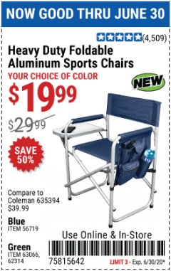 Harbor Freight Coupon HEAVY DUTY FOLDABLE ALUMINUM SPORTS CHAIRS Lot No. 56719/63066/62314 Valid Thru: 6/30/20 - $19.99