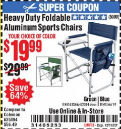 Harbor Freight Coupon HEAVY DUTY FOLDABLE ALUMINUM SPORTS CHAIRS Lot No. 56719/63066/62314 Valid Thru: 12/11/20 - $19.99