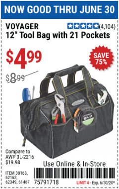 "Harbor Freight Coupon 12"" TOOL BAG WITH 21 POCKETS Lot No. 38168/62163/62349/61467 EXPIRES: 6/30/20 - $4.99"