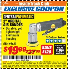 "Harbor Freight ITC Coupon 2"" ORBITAL AIR SANDER Lot No. 93629 Expired: 12/31/18 - $19.99"