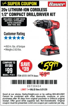 Harbor Freight Coupon 20V DRILL DRIVER Lot No. 63531 EXPIRES: 6/30/20 - $59.99