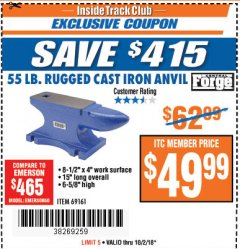 Harbor Freight ITC Coupon 55 LB. RUGGED CAST IRON ANVIL Lot No. 806/69161 Expired: 10/2/18 - $49.99