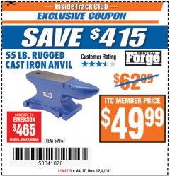 Harbor Freight ITC Coupon 55 LB. RUGGED CAST IRON ANVIL Lot No. 806/69161 Expired: 12/4/18 - $49.99