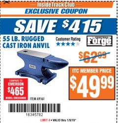 Harbor Freight ITC Coupon 55 LB. RUGGED CAST IRON ANVIL Lot No. 806/69161 Expired: 1/9/19 - $49.99