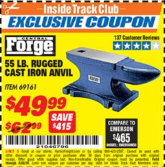 Harbor Freight ITC Coupon 55 LB. RUGGED CAST IRON ANVIL Lot No. 806/69161 Expired: 4/30/19 - $49.99