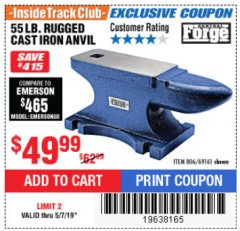 Harbor Freight ITC Coupon 55 LB. RUGGED CAST IRON ANVIL Lot No. 806/69161 Expired: 5/7/19 - $49.99