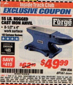 Harbor Freight ITC Coupon 55 LB. RUGGED CAST IRON ANVIL Lot No. 806/69161 Expired: 7/31/19 - $49.99