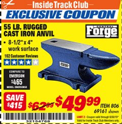 Harbor Freight ITC Coupon 55 LB. RUGGED CAST IRON ANVIL Lot No. 806/69161 Expired: 9/30/19 - $49.99