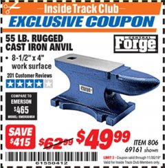 Harbor Freight ITC Coupon 55 LB. RUGGED CAST IRON ANVIL Lot No. 806/69161 Expired: 11/30/19 - $49.99