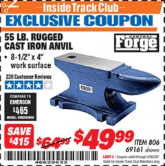 Harbor Freight ITC Coupon 55 LB. RUGGED CAST IRON ANVIL Lot No. 806/69161 Expired: 4/30/20 - $49.99