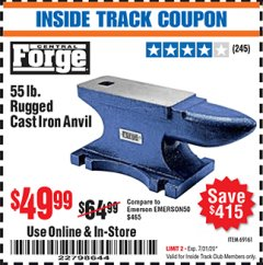 Harbor Freight ITC Coupon 55 LB. RUGGED CAST IRON ANVIL Lot No. 806/69161 Valid Thru: 7/31/20 - $49.99