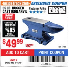 Harbor Freight Coupon 55 LB. RUGGED CAST IRON ANVIL Lot No. 806/69161 Expired: 3/19/19 - $49.99
