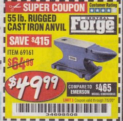 Harbor Freight Coupon 55 LB. RUGGED CAST IRON ANVIL Lot No. 806/69161 Expired: 7/5/20 - $49.99