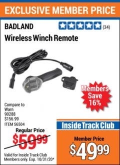 Harbor Freight ITC Coupon BADLAND WIRELESS WINCH REMOTE  Lot No. 56504 Expired: 10/31/20 - $49.99