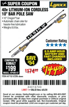 "Harbor Freight Coupon 40V LITHIUM-ION 10"" POLE SAW Lot No. 64718 EXPIRES: 6/30/20 - $144.99"