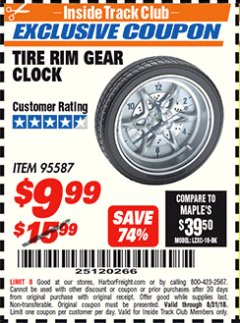 Harbor Freight ITC Coupon TIRE RIM GEAR CLOCK Lot No. 95587 Expired: 8/31/18 - $9.99