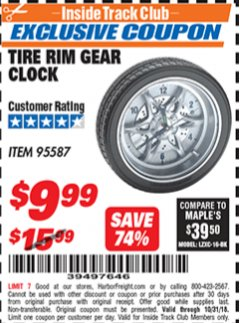 Harbor Freight ITC Coupon TIRE RIM GEAR CLOCK Lot No. 95587 Expired: 10/31/18 - $9.99