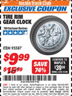 Harbor Freight ITC Coupon TIRE RIM GEAR CLOCK Lot No. 95587 Expired: 1/31/19 - $9.99